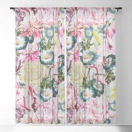 Vintage & Shabby chic -  Retro Spring Flower Pattern  Sheer Curtain
