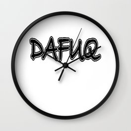 DAFUQ WTF Funny Mechanic Office Gift Wall Clock