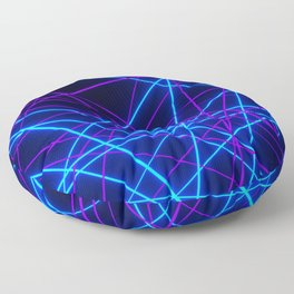 Neon Abstract Line -Blue and Purple, Black- Floor Pillow