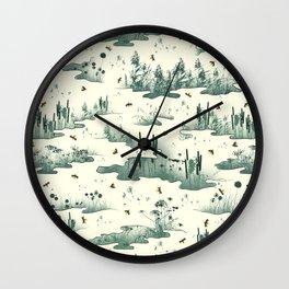A Marsh Study - Firefly Seamless Pattern Wall Clock