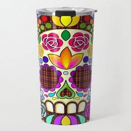 Sugar Skull Floral Naif Art Mexican Calaveras Travel Mug