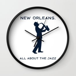 New Orleans Music Festival Jazz Saxophone Musician Design Wall Clock
