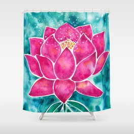 Sacred Lotus – Magenta Blossom with Turquoise Wash Shower Curtain