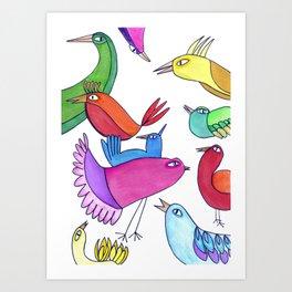 gossipy birds Art Print