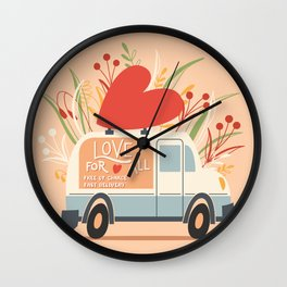Love Truck, Happy Valentine's Day 1 Wall Clock