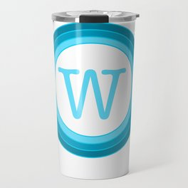 blue letter W Travel Mug