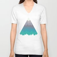 geology V-neck T-shirts featuring Many Mountains by Rick Crane