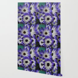 Blue & White Daisy Flowers #1 #floral #decor #art #society6 Wallpaper