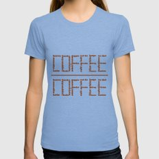 Coffee Tri-Blue SMALL Womens Fitted Tee