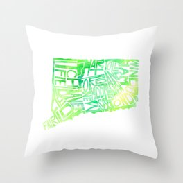 Typographic Connecticut - green watercolor map Throw Pillow