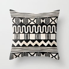 African Shapes - Black Throw Pillow