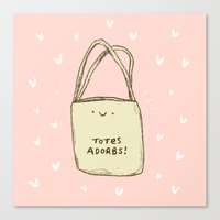 totes Canvas Prints featuring Totes Adorbs! by Sophie Corrigan