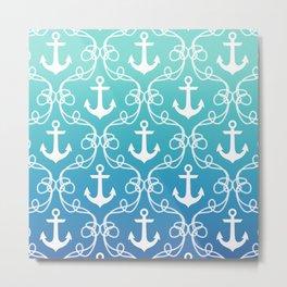 Nautical Knots Ombre Metal Print