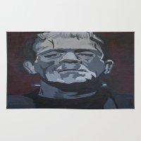 frankenstein Area & Throw Rugs featuring Frankenstein by Paintings That Pop