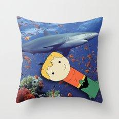Aquaman Vs. Shark Throw Pillow