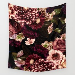 Vintage & Shabby Chic- Real Chrysanthemums Lush Midnight Flowers Botanical Garden Wall Tapestry