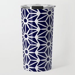 Asanoha Pattern - White on Navy Travel Mug
