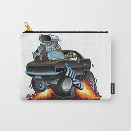 Classic Sixties American Muscle Car Popping a Wheelie Cartoon Illustration Carry-All Pouch