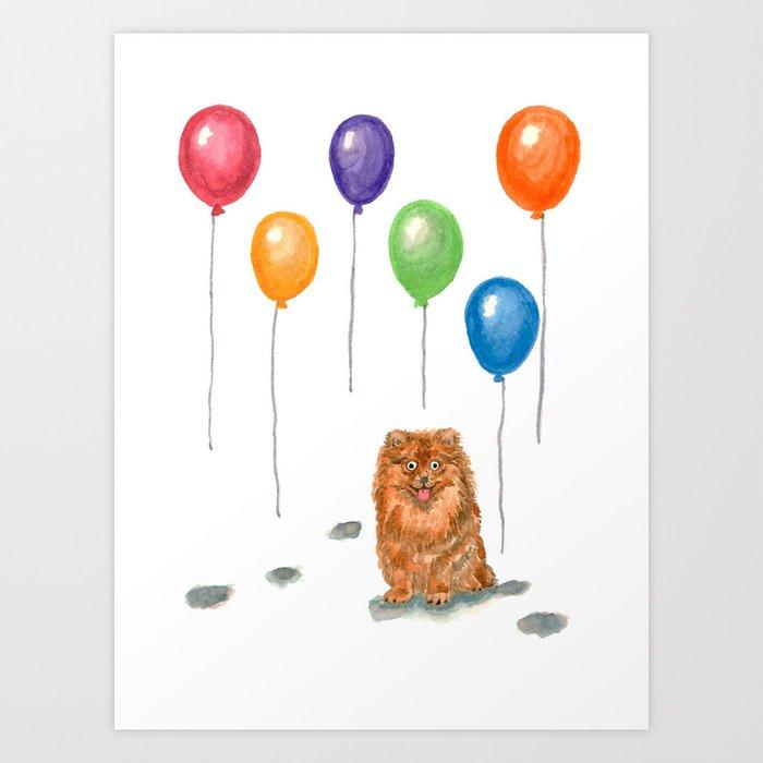 Pomeranian with balloons Art Print