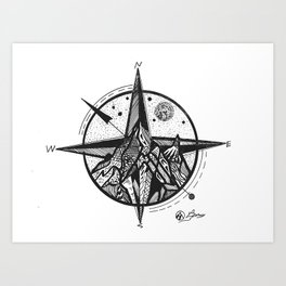 """Ascend"" Mountain Nature Artwork,  Compass Art Art Print"