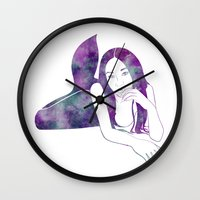 aaliyah Wall Clocks featuring Amythest Mermaid by Stevyn Llewellyn
