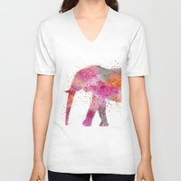 artsy V-neck T-shirts featuring Artsy Elephant by LebensART