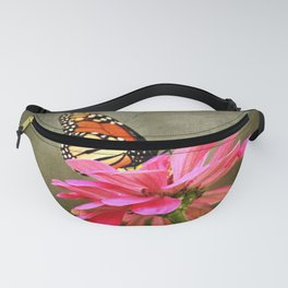 Monarch Butterfly and Pink Zinnia Fanny Pack