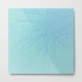 Blue spider web. Blue spider web on a blue background Metal Print