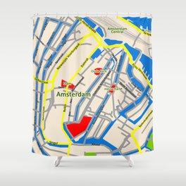 Amsterdam Map design Shower Curtain