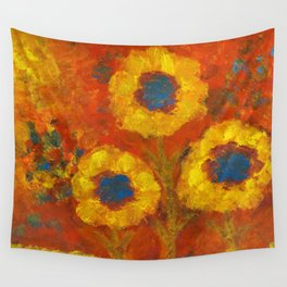 Sunflowers with a golden sun Wall Tapestry