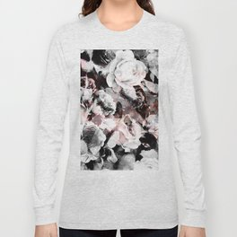 flowers - roses and black marble Long Sleeve T-shirt