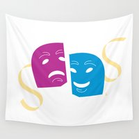theatre Wall Tapestries featuring Theatre Masks by G_Stevenson