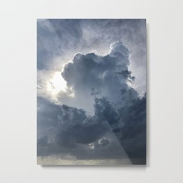 Storm Clouds with Cross Metal Print