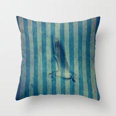 seagull in cyan Throw Pillow