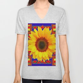 WESTERN BLUE-RED YELLOW SUNFLOWER FLORAL ART Unisex V-Neck