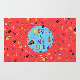 Music is my life (Soft red) Rug