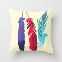 indie Throw Pillows featuring Indie Feathers  by Minette Wasserman