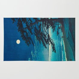 Vintage Japanese Woodblock Print Moonlight Over Ocean Japanese Landscape Tall Tree Silhouette Rug
