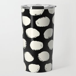 Trendy Cream Polka Dots on Black Travel Mug