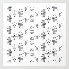 Geometrical black white diamond shapes pattern Art Print