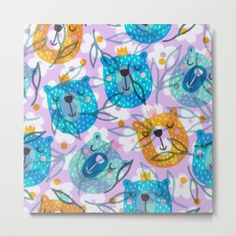 cute floral and bears pattern Metal Print