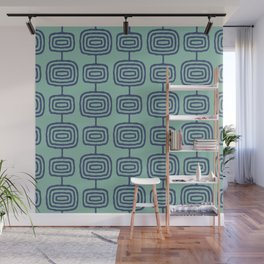 Mid Century Modern Atomic Rings Pattern Turquoise and Blue Wall Mural