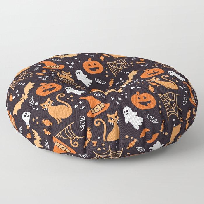 Halloween party illustrations orange, black Floor Pillow