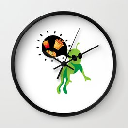 Alien Pizza Ufo Alien Spaceship Space Wall Clock