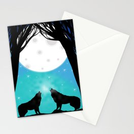 Wolf crying at the moon Stationery Cards