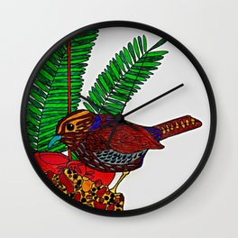 Little Bird In Evergreen Boughs Wall Clock