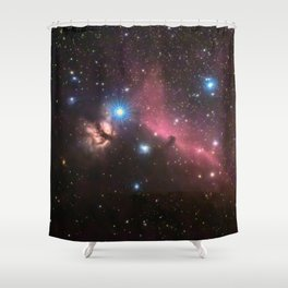 Horsehead and flaming tree nebula, in the constellation of Orion, Milky Way Shower Curtain