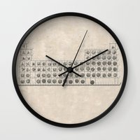 periodic table Wall Clocks featuring Periodic table by Florian Pasquier