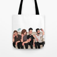 boys Tote Bags featuring boys by skyberia