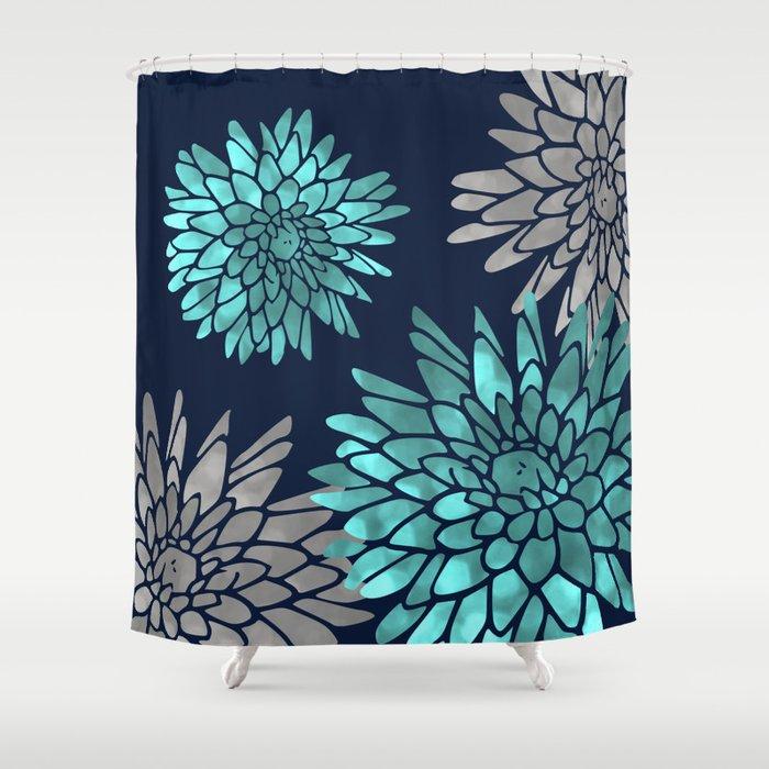 Floral Chrysanthemum Modern Navy Aqua Shower Curtain By Meganmorrisart